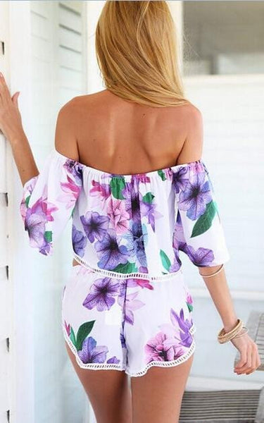 Off The Shoulder Top With Florals Shorts