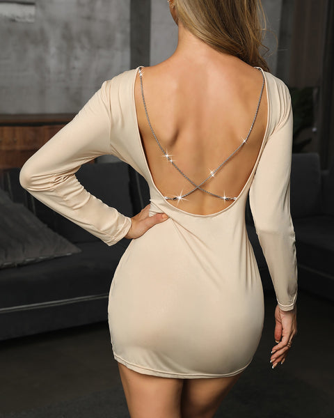 Plain Crisscross Open Back Bodycon Dress