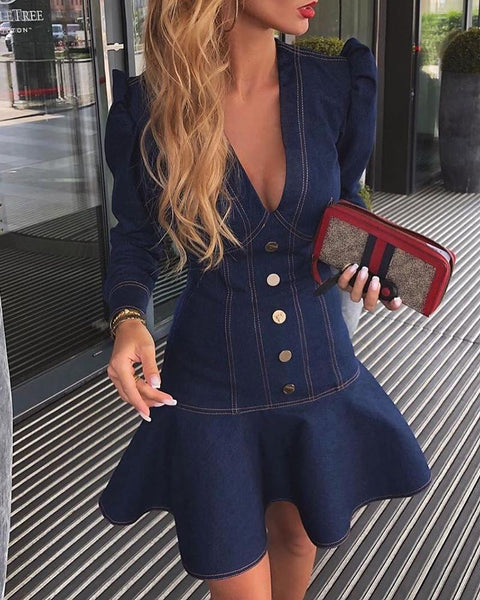 Plunge Contrast Piping Puff Sleeve Ruffles Denim Dress