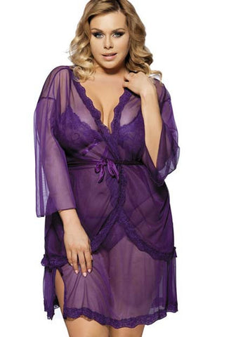Purple Plus Size Lingerie Babydoll Dress