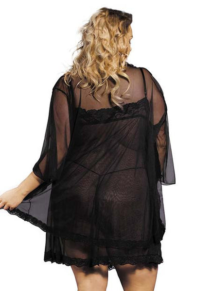 Black Plus Size lace Lingerie Babydoll Dress