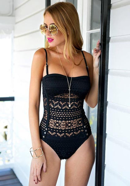 Black Lace Halter Swimsuit