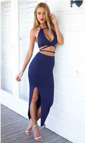 156c63bb4f223 Sale Navy blue Bandage Halter Neck Two Piece Bodycon Dress