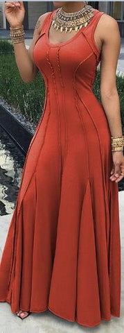 Red Cotton Sleeveless Maxi Dress