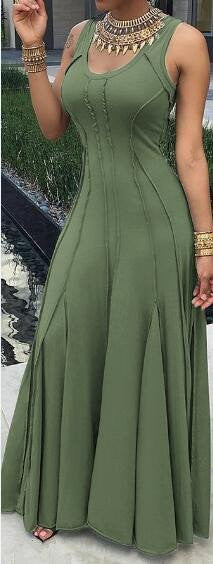 Army green Cotton Sleeveless Maxi Dress