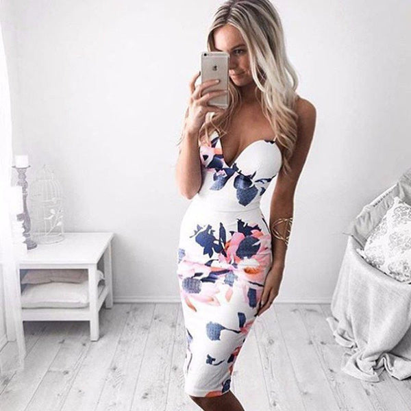 Show The Light Floral Spaghetti Straps Bodycon Dress