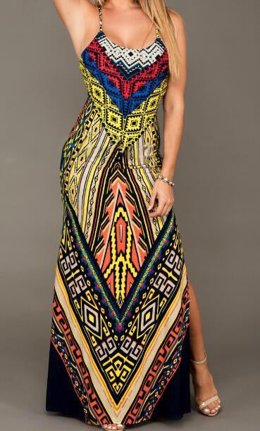 Romoti Best For you Tribal Print Slit Long Dress
