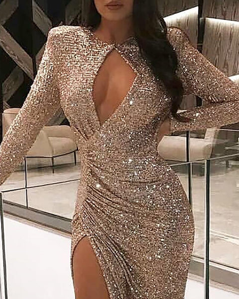 Sequins Cut Out Chest High Slit Ruched Dress