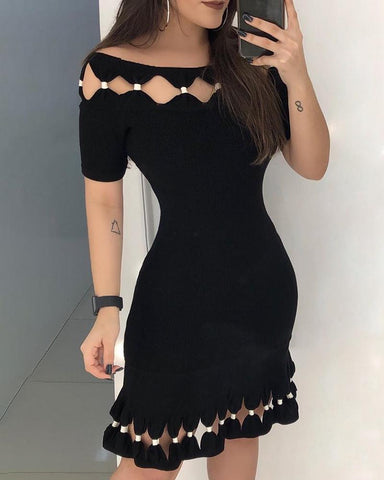Short Sleeve Hollow Out Detail Bodycon Dress