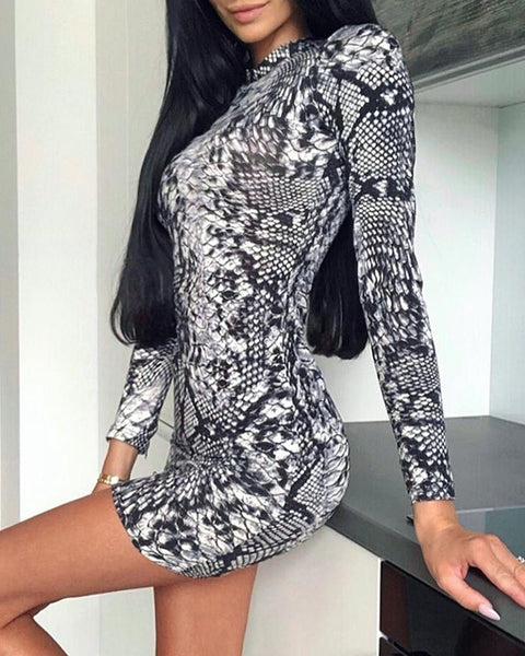 Snakeskin Long Sleeve Bodycon Dress