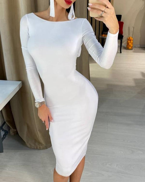 Solid Long Sleeve Backless Midi Dress