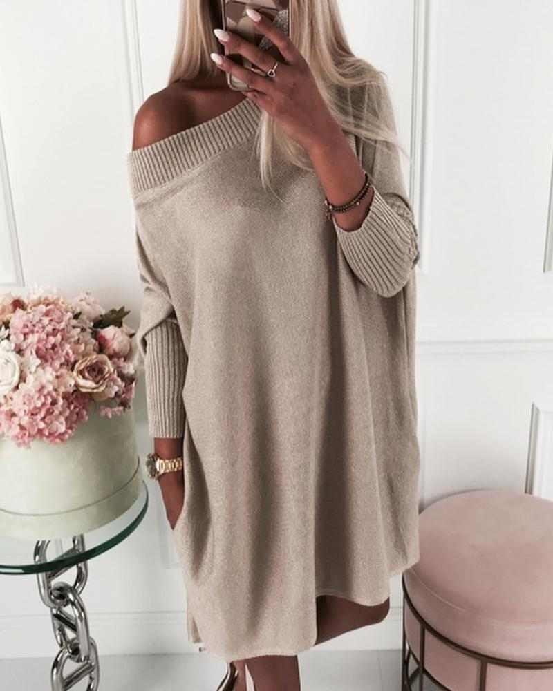 Solid Long Sleeve Ribbed Casual Sweater Dress