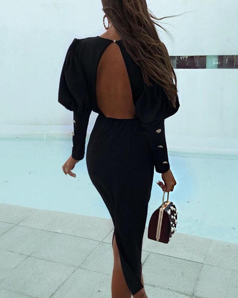 Solid Puff Sleeve Backless Slit Dress