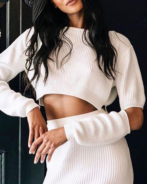 Solid Round Neck Ribbed Cut Out Crop Top & High Slit Skirt Sets