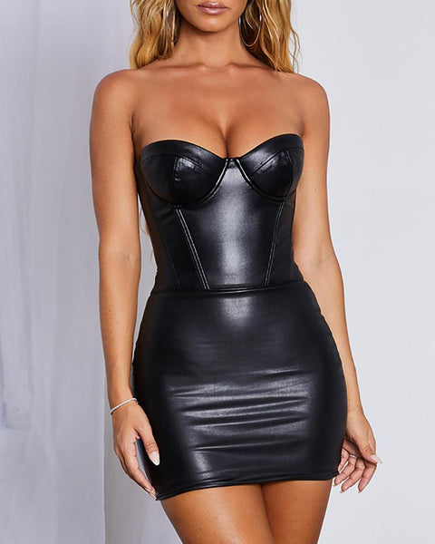 Solid Sweatheart Neck PU Bodycon Dress