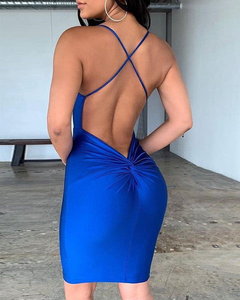 Spaghetti Stap Backless Crisscross Ruched Party Dress