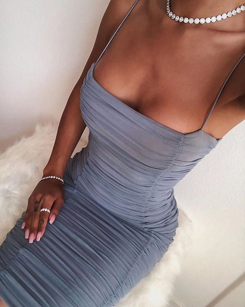 Spaghetti strap ruched bodycon dress vintage afterpay