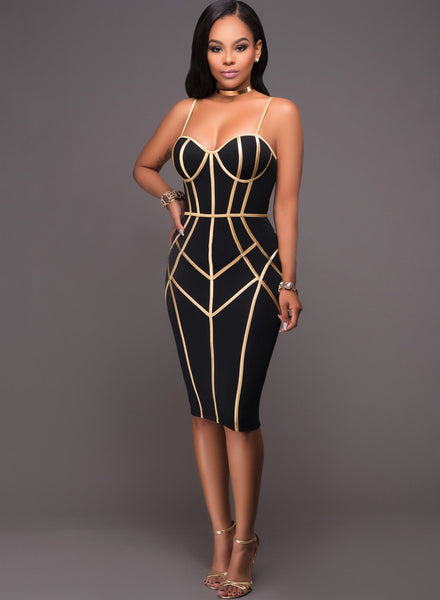 Spaghetti Strap Sleeveless Color Block Bodycon Dress