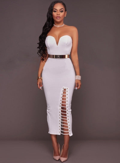 Strapless Lace up Bodycon Dress with Belt