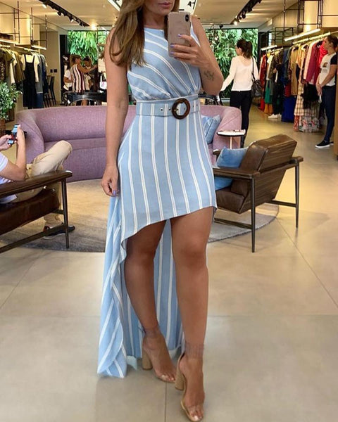 Striped Dip Hem Sleeveless Casual Dress
