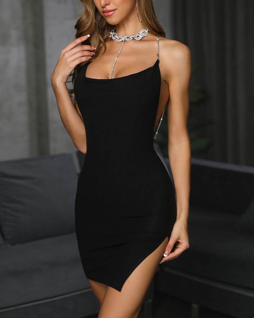 Studded Chain Open Back Slit Party Dress