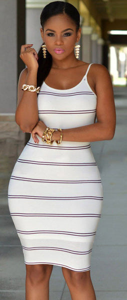 Stripe Backless Dress
