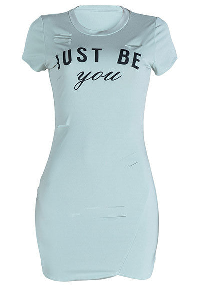 Trendy Letter Print Ripped Slinky T-shirt Dress