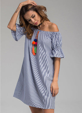 Trendy Off Shoulder Lace-up Striped Casual Dress