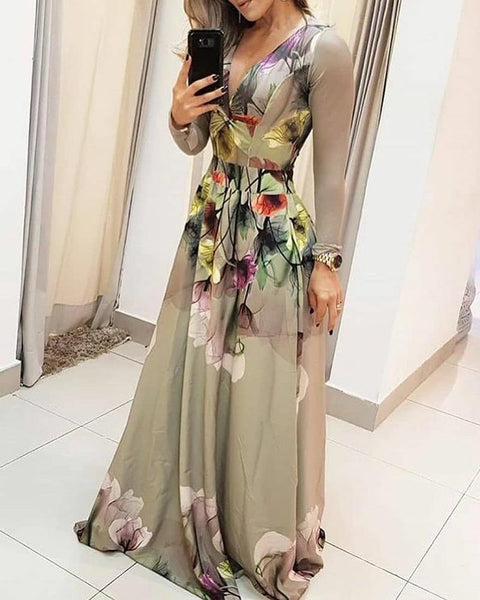 V Neck Floral Print Tight Waist Dress