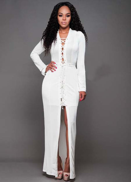 V Neck Long Sleeve Lace-up front High Slit Maxi Dress