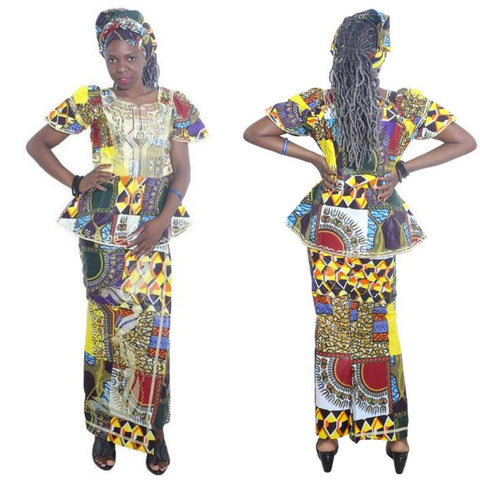 New Style African Bazin Riche Dress For Women Traditional X20969