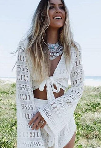 Crochet White lace Long Sleeve Top And White Short