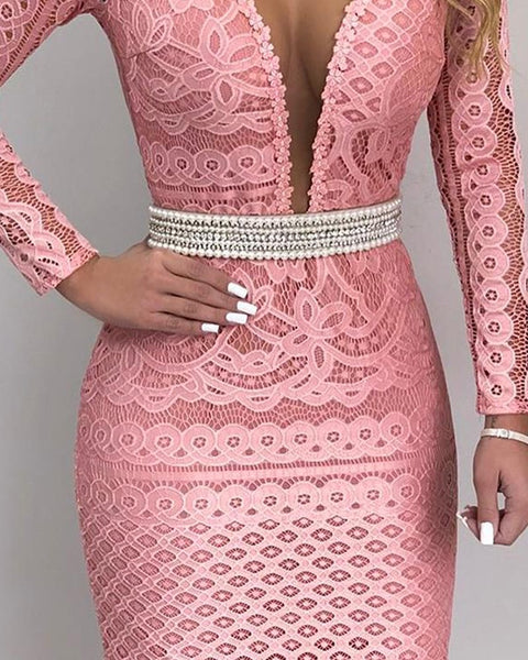 Plunge Mesh Lace Bodycon Dress