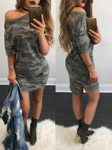 Trendy Camouflage Print One Shoulder Casual Dress
