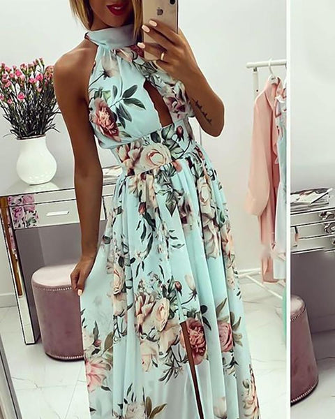 Navy Floral Slit Maxi Dress