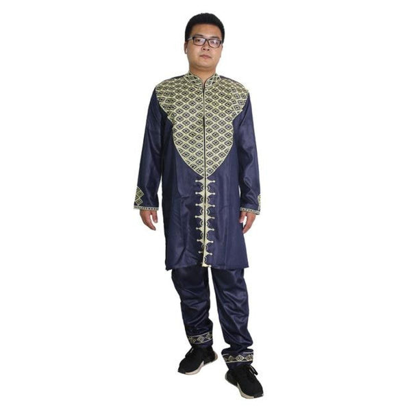 Africa Men Dashiki Bazin Riche Embroidery Africana Hombre Top-Pants Y20739