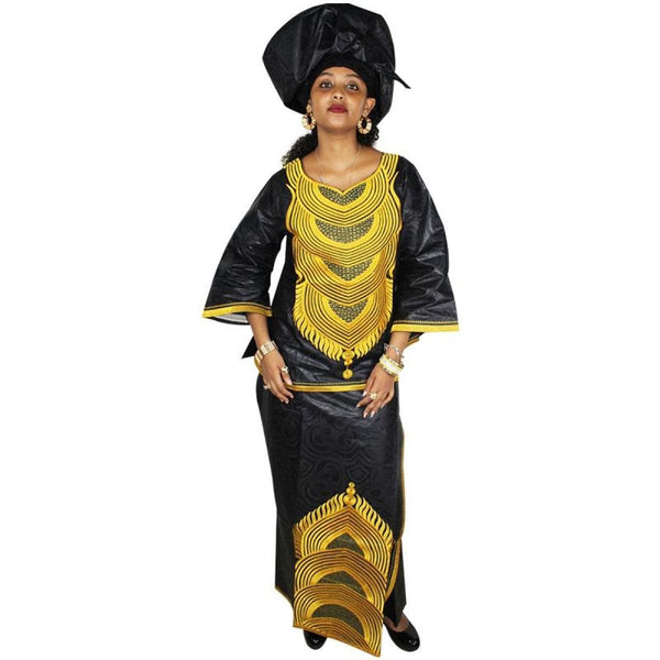 Embroidery African Bazin Riche Style Clothing For Women Top Skirt with X20921