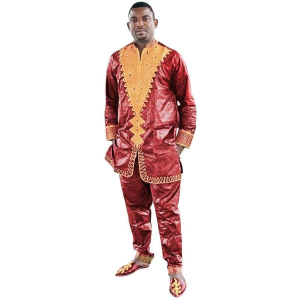 Traditional Embroidered African Dashiki Bazin Brocade Men Y20730