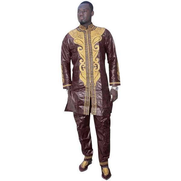 African Traditional Embroidery Bazin Riche Dashiki Top-Pants For Y20732