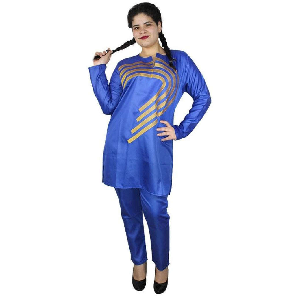 African Ladies Dashiki Top-Pants Set Royal Blue With Gold Embroidery X20623