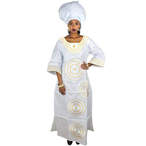 African Clothing For Women Enbroidered White Dress with Gold Pink  X21291