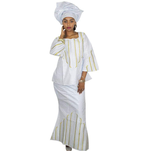 African Dashiki Style For Women Embroidered Bazin Riche Clothing X20947
