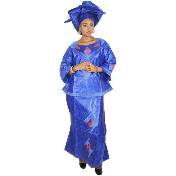 African Cloth For Women Ladies Embroidered Bazin Top-Skirt with Scarf X20946