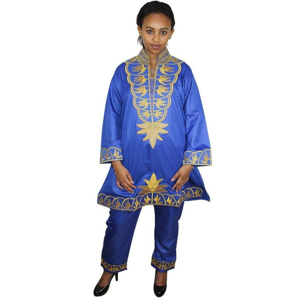 Women Dashiki Red Blue Brown Black etc Top-Pants with Gold Embroidery X20639