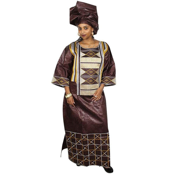 African Clothing Traditional Bazin Riche Embroidery Long Dress Dashiki X21298