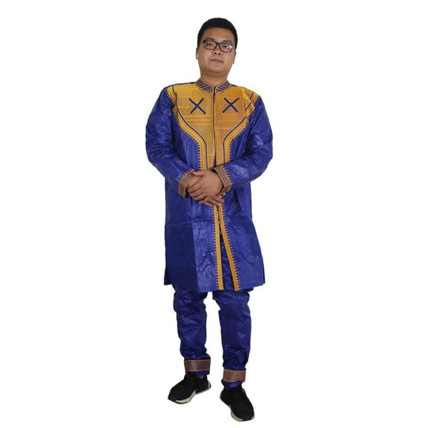 African Clothing Dashiki For Men 2-Piece Set Top with Pants Embroidery Y20744
