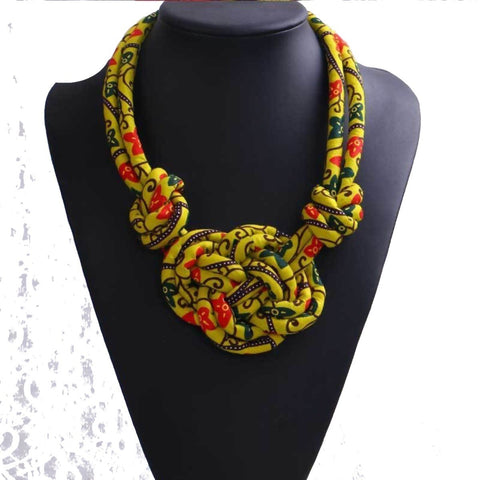 African Necklace For Women Wax Cotton Rope Chain Statement Handmade Q11762