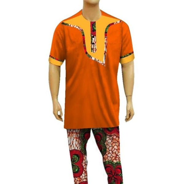 Dashiki African Men Short-Sleeve Top-Pants Sets Patchwork Clothing Y10832
