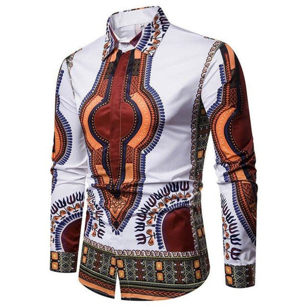 Casual 3D Print African Men Fitted Robe Hip Hop Dashiki Slim Shirt Y10476