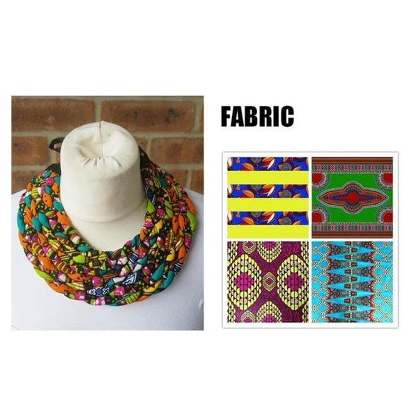 African Necklace Tribal Ethnic Jewelry Ankara Weave T Q11750